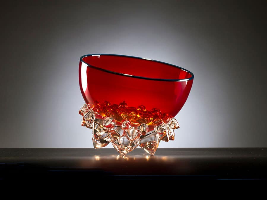 Web 9in Cherry Red Thorn Vessel Andrew Madvin - Artists
